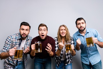 Hobby vacation holidays funtime masculinity emotion expression face grimacing concept. Close up portrait of four excited sad unhappy sport fans drinking beer watching tv isolated on gray background