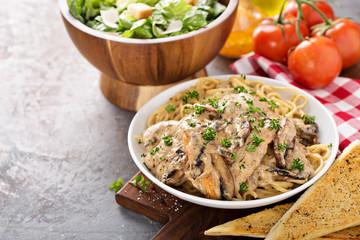Chicken marsala with pasta