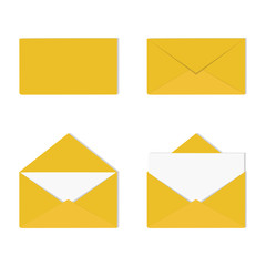 A set of open and closed envelopes with letter. Correspondence, message concept. Vector illustration