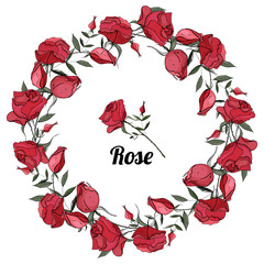 Vector round wreath of roses. Greeting card background for Valentine's day, birthday, mother's day, wedding. Vector