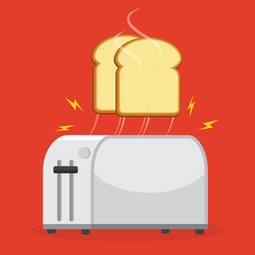 Good morning concept. Toaster and bread toasts. Isolated on background. Vector illustration