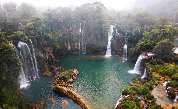 Aerial view on the Ban Gioc Waterfall at cloudy March  - the most magnificent waterfall in Vietnam