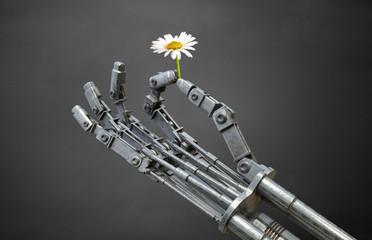 robot hand holding a flower