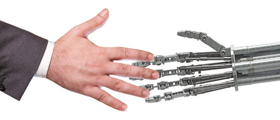 man shaking hand with a robot; 3d illustration