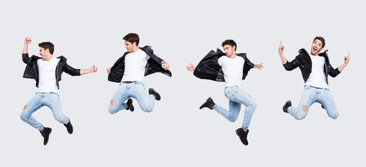 Funky joy concept. Collage picture of different pose of cheerful cool funny punk man expressing happiness jumping having fun yelling wearing casual clothes, isolated on white background full-length