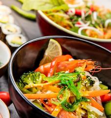 Asian variation of meals served in ceramic bowls