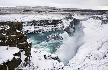 High angle view of Gullfoss Falls during winter