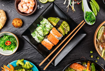 Asian Sushi variation with many kinds of meals.