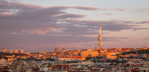 Beautiful sunset panorama view on Zizkov TV tower, Prague, Czech Republic
