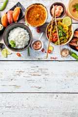 Asian food variation with many kinds of meals. Top view