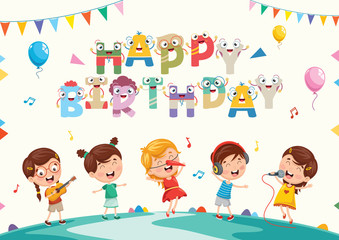 Vector Illustration Of Kids Birthday Party
