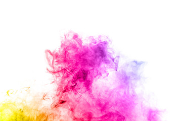 Abstract color smoke on white background. The bright colorful smoke on background. Abstract Color smoke clouds.