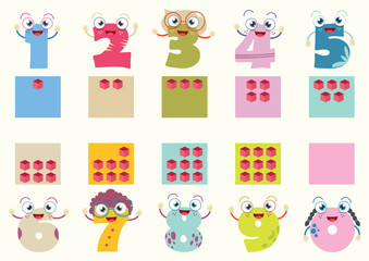 Vector Illustration Of Cartoon Numbers