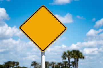 Diamond Shaped Blank Yellow Street Sign