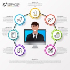 Infographic design template. Business concept with 7 steps