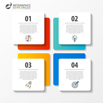 Business infographic template with 4 steps. Square. Vector