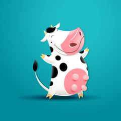Vector illustration of funny smiling cow