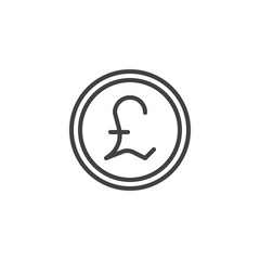 Pound coin outline icon. linear style sign for mobile concept and web design. Coin cash money simple line vector icon. Symbol, logo illustration. Pixel perfect vector graphics