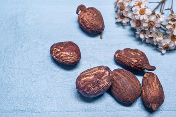 shea butter nuts and flowers on blue wood