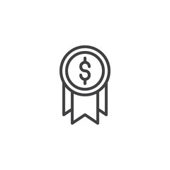 Business award outline icon. linear style sign for mobile concept and web design. financial money simple line vector icon. Symbol, logo illustration. Pixel perfect vector graphics