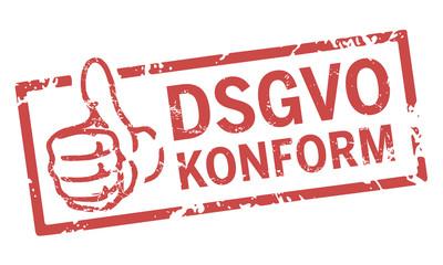roter stempel DSGVO konform mit Daumen