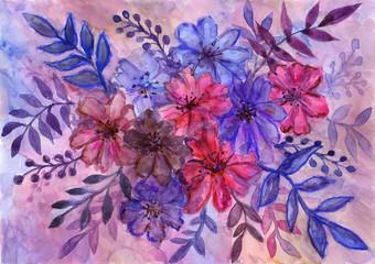 Floral composition. Watercolor artwork