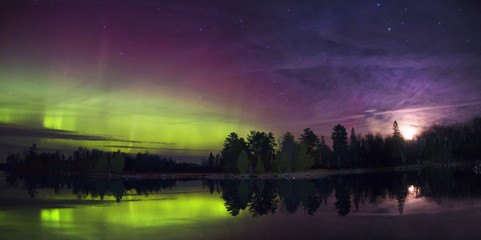 Northern Lights over a Lake in Minnesota during Summer