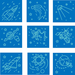 space icons in blue /  set of icons on a space theme in which there is a rocket, planet, astronaut, sun