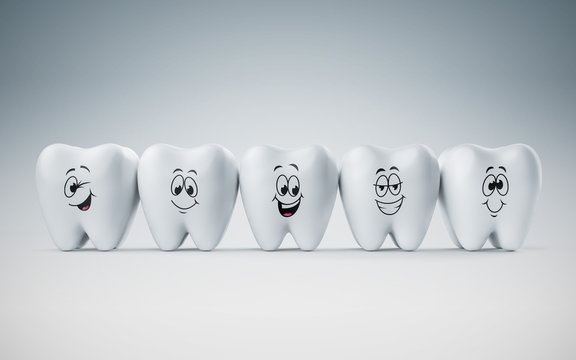 Teeth smile and happy emotion, Concept Dental care cleaning bacterial plaque on white background. 3d render