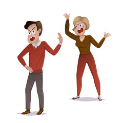 Quarrel. Young couple arguing. Man and woman shouting at each other. Problems in relationships, disagreement and conflict. Vector illustration