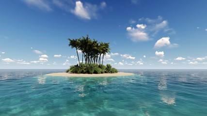 Tropical island in the ocean 3D render