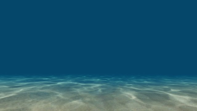 Caustics at the bottom of the sea 3D render