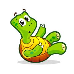 Cute cartoon awkward turtle illustration.