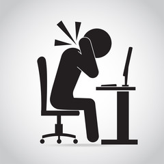 Man neck pain icon. Office syndrome icon sign illustration