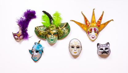 collection of handmade Venetian carnival masks