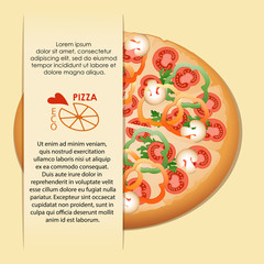 Pizza with mushrooms, tomatoes, paprika. Pizza delivery. Poster with space for text. Realistic image.