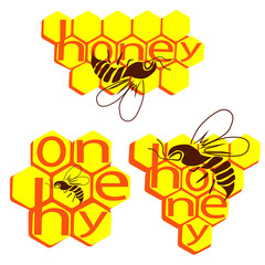 "The inscription ""Honey"" and a bee against the background of bee honeycombs"