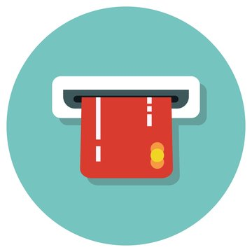 Atm card Flat style vector icon illustration.