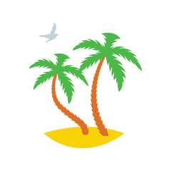 Two palm trees on a sandy island with a passing seagull. Icon. Vector illustration
