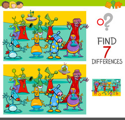 find differences game with aliens characters