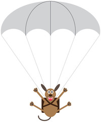 A cartoon dog is floating toward the ground with the help of a parachute