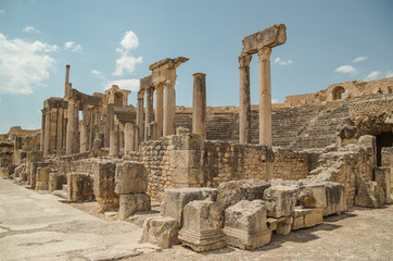 Roman ruins. Theatre. Dougga or Thugga, Romano-Berber city - UNESCO World Heritage site. Tunisia