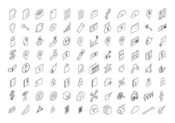 Set of Business Isometric thin line icon illustration on white background eps10