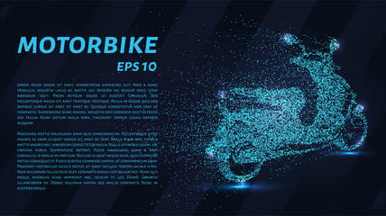 Motorcycle from of particles. The bike consists of dots and circles. Blue motorcycle on a dark background.