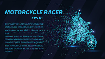 Motorcycle of the particles. The motorbike breaks down into small molecules.