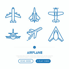 Airplane thin line icons set: agricultural aircraft, passenger's plane, military aviation. Top and side view. Modern vector illustration.