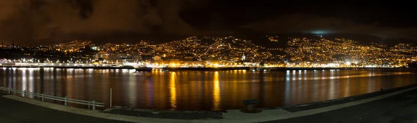 Panorama of Funchal Skyline at night (Night scene) Madeira island Portugal Fototapete