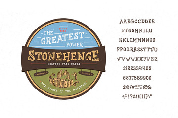 Font Stonehedge. Vintage typeface design. Fashion type. Textured alphabet. Modern display vector letters. Drawn in graphic style. Set of Latin characters, numbers, punctuation.