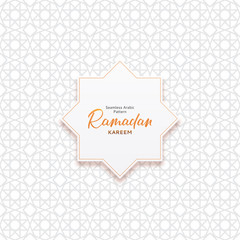 Seamless Arabic pattern template. Beautiful festive background with Islamic ornament design. Vector illustration with calligraphy lettering.