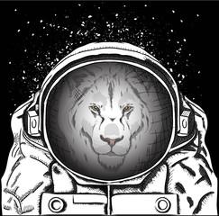 lion in the cosmonaut costume. Vector illustration